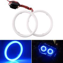 EverBright 1Pair Blue 80MM Car Led Cotton Lights Angel Eyes Halo Rings COB Light Circle Ring Headlight Lamp with Housing 12V 24V