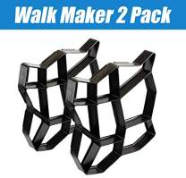 "CJGQ 2Pack 13.4""x13.4""x1.42"" Walk Maker Reusable Concrete Path Maker Molds Stepping Stone Paver Lawn Patio Yard Garden DIY Walkway Pavement Paving Moulds (Irregular)"