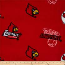 Sykel Enterprises 0317698 Collegiate Fleece University of Louisville Red Fabric by the Yard