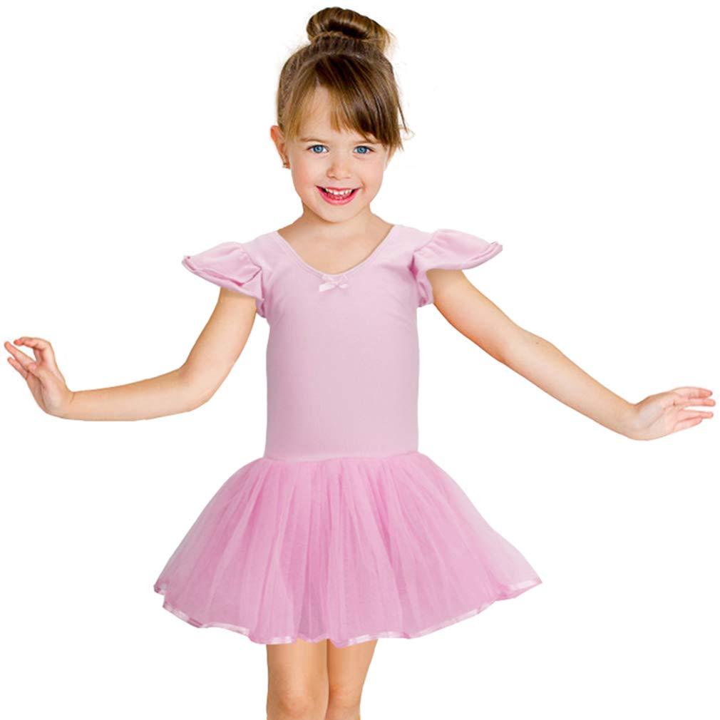 Jane Shine Girl Ballet Leotard, Short Sleeve Ballerina Dress Cotton with Fluffy Tutu Skirt for Toddler Girls