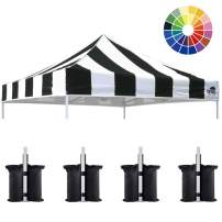 Eurmax New 10x10 Pop Up Canopy Replacement Canopy Tent Top Cover, Instant Ez Canopy Top Cover ONLY, Choose 30 Colors Stripe Black