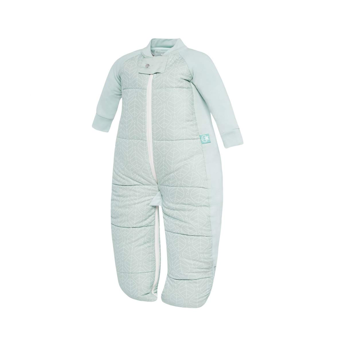 ergoPouch 3.5 TOG Sleep Suit Bag 100% Organic Cotton Filling with Cotton Sleeves and fold Over Mitts. 2 in 1 Wearable Blanket Sleeping Bag converts to Sleep Suit with Legs (Mint Leaves, 2-4 Years)