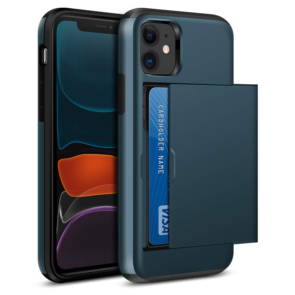 iPhone 11 Case, Jiunai iPhone 11 Wallet Case Card Holder for Credit Card IDs Cash Slim Sliding Cover Non Slip Anti Scratch Dual Layer Soft TPU Rubber Phone Case ONLY for iPhone 11 6.1 inches 2019 Navy