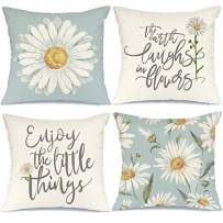 AENEY Pillow Covers 18x18 inch Set of 4 Daisy Decor Summer Decorations Cute Floral Quote Pillows Case Flower Decorative Throw Pillow Covers Spring Farmhouse Decor Pillows Case for Home