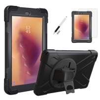 Gzerma Case for Amazon Fire HD 8 7th / 8th 2017 2018 Generation with Screen Protector, Childproof Shockproof Heavy Duty Cover with Hand Strap, Stylus Pen, Kickstand for Amazon Kindle Fire8 (Black)