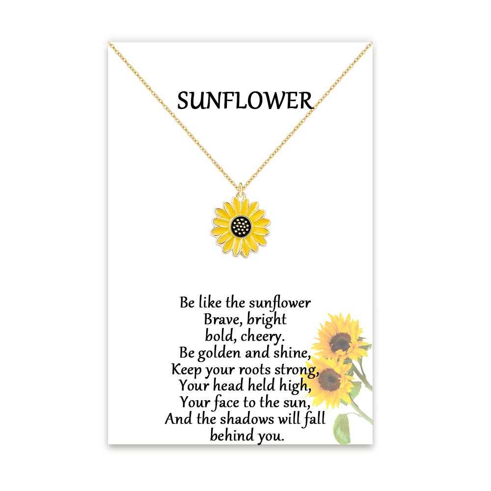 Tarsus Sunflower Daisy Necklace Jewelry Gifts for Women & Little Girls, Chain 18+2 inches