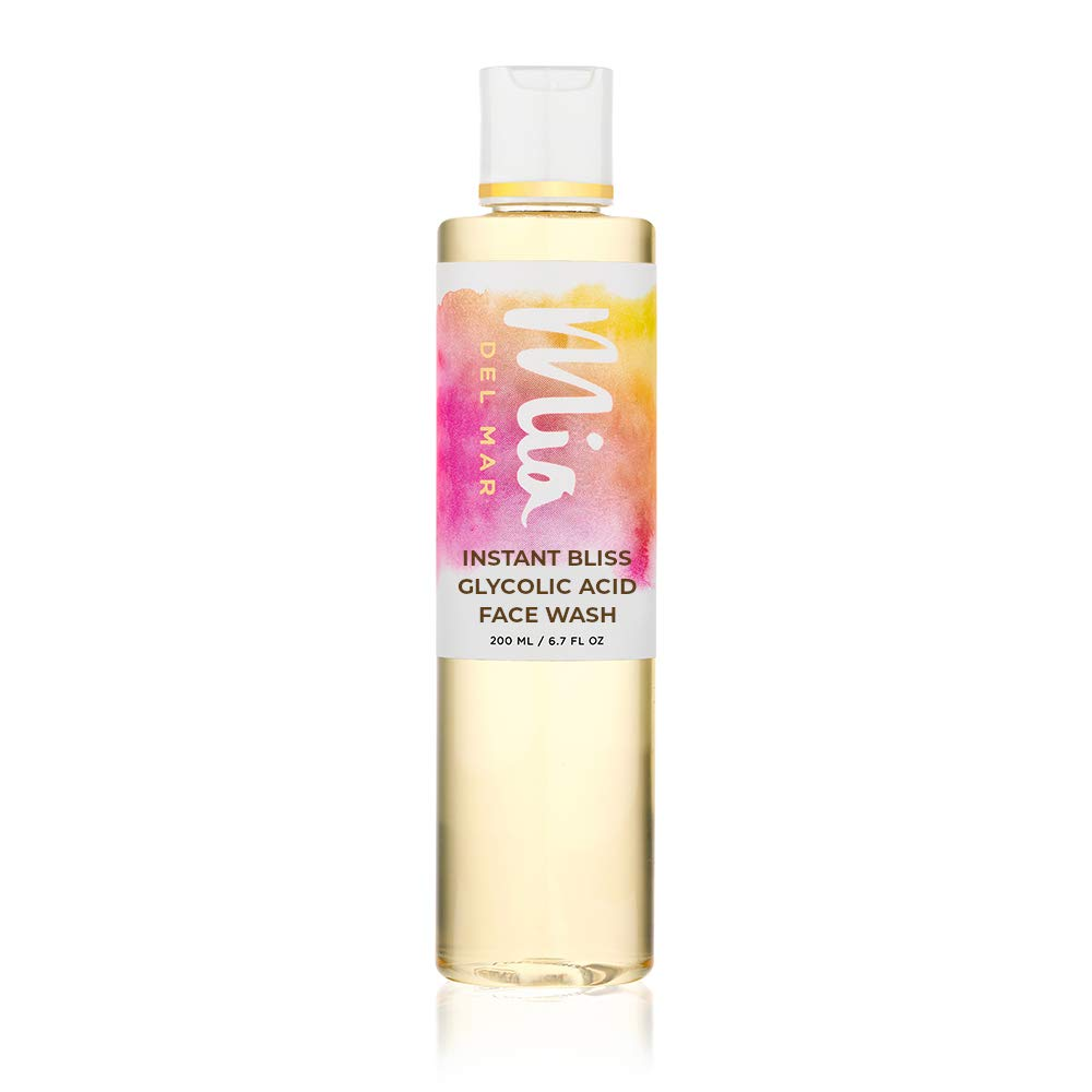 Mia del Mar Instant Bliss Glycolic Acid Face Wash -Gentle Exfoliator, Helps With Anti-Aging, Hyperpigmentation, Oily and Acne-Prone Skin. Rich In Vitamin B5, And Lauryl Glucoside.