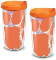 Tervis 1095184 Clemson Tigers Colossal Tumbler with Wrap and Orange Lid 2 Pack 16oz, Clear