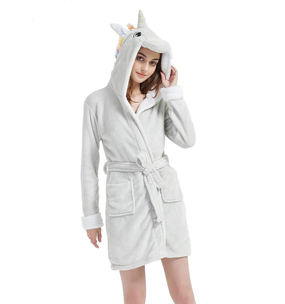 ABENCA Women Unicorn Robe Adult Animal Bath Flanel Fleece Hooded Halloween Christmas Cosplay Robe