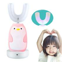 FEISIKE U-Shaped 360°Automatic Electric Toothbrush for Kids,Autobrush for Kid,2 Braces of Different Ages,3 Optional Modes,IPX7 waterproof,Cute Penguin Brush (Pink)