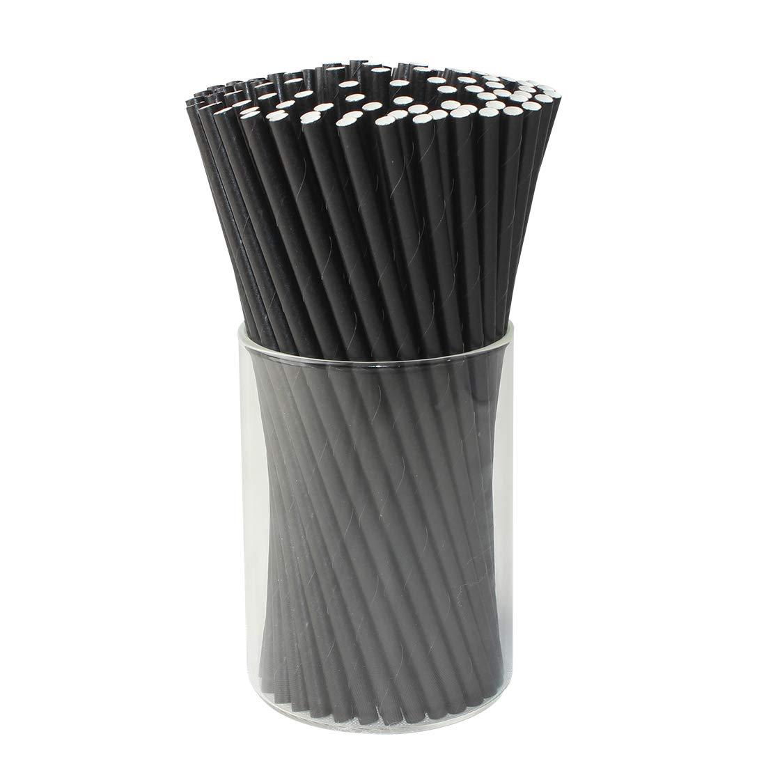 Paper Drink Straws Biodegradable Black - Graduation Party Supplies 100 Pcs Eco-frendly Straws Bulk for Birthday | Wedding | Bachelorette | Baby Shower | DIY Idea