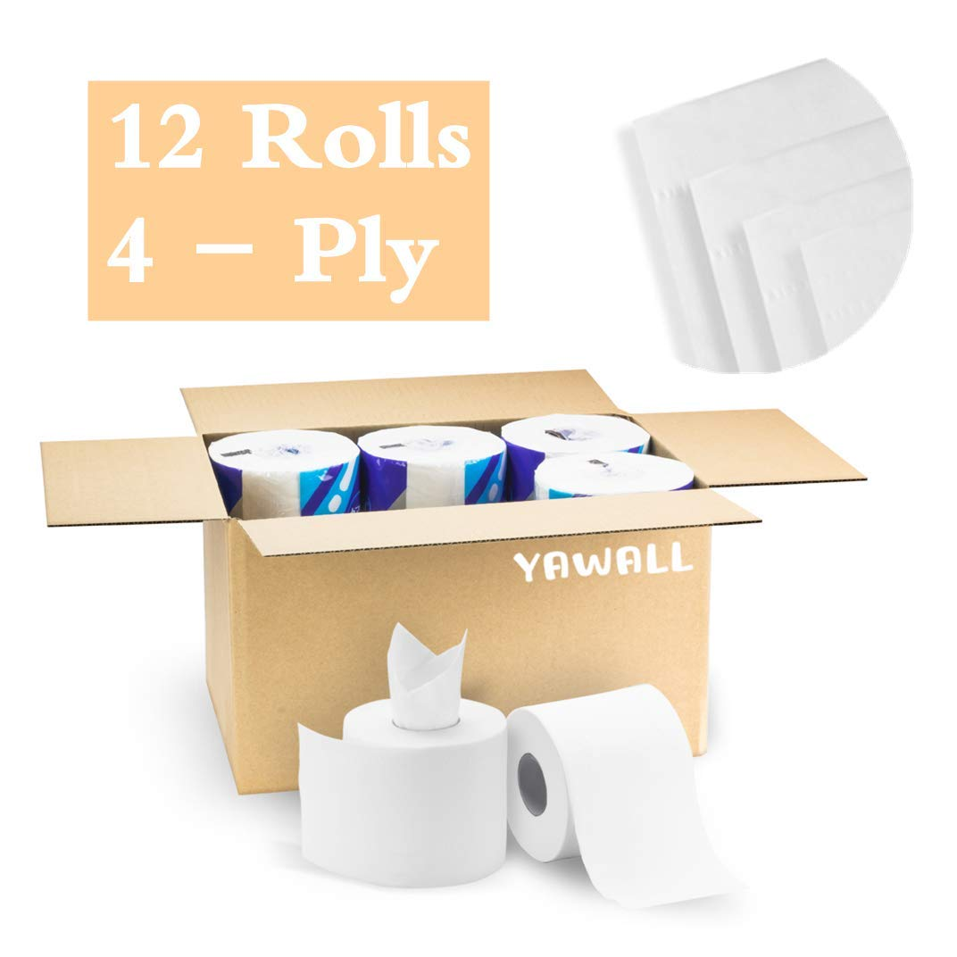 YAWALL 4-Ply Professional Premium Paper Towel, Ultra Soft Absorbable Toilet Paper Hand Towels Tissue for Daily Use, Home&Kitchen Bathroom Living Room (White, 308 Sheets Per Roll, 12 Rolls Per Case)