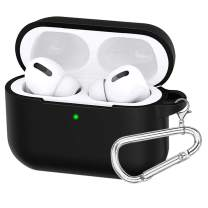 Amurgo for New AirPods Pro Case 2019 with Keychain, Protective Cover for AirPods Pro 3rd Gen Charging Case [Visible Front LED] Shock-Absorbing Soft Slim Silicone Case (Black)