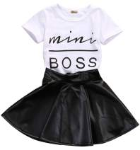 Toddler Girls Fashion Clothes Set Sassy Beauty Mini Boss Short Sleeve Tops+Mini Button Skirts Dress Summer Outfit