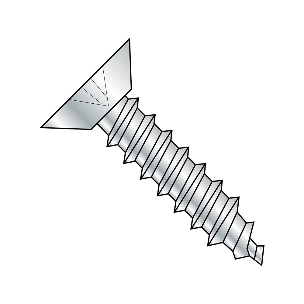 Type A Plain Finish #6-18 Thread Size Pack of 100 Phillips Drive 18-8 Stainless Steel Sheet Metal Screw 1 Length 82 degrees Flat Head