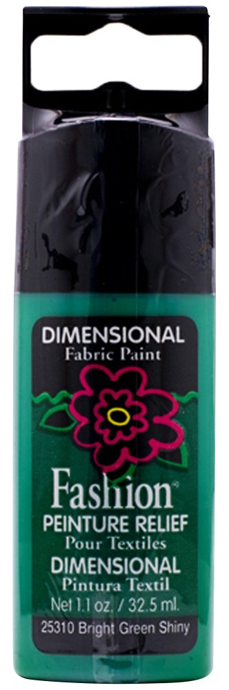 Plaid Fashion Dimensional Fabric Paint in Assorted Colors (1.1-Ounce), 25310 Bright Green