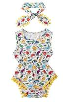 Toddler Kids Baby Girls 3-6M Sleeveless Animal Printed Short Romper Jumpsuit Yellow Light Blue