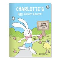 Coloring Book for Kids Toddlers Children Girls Boys, Personalized Custom Name, Easter Basket Bunny