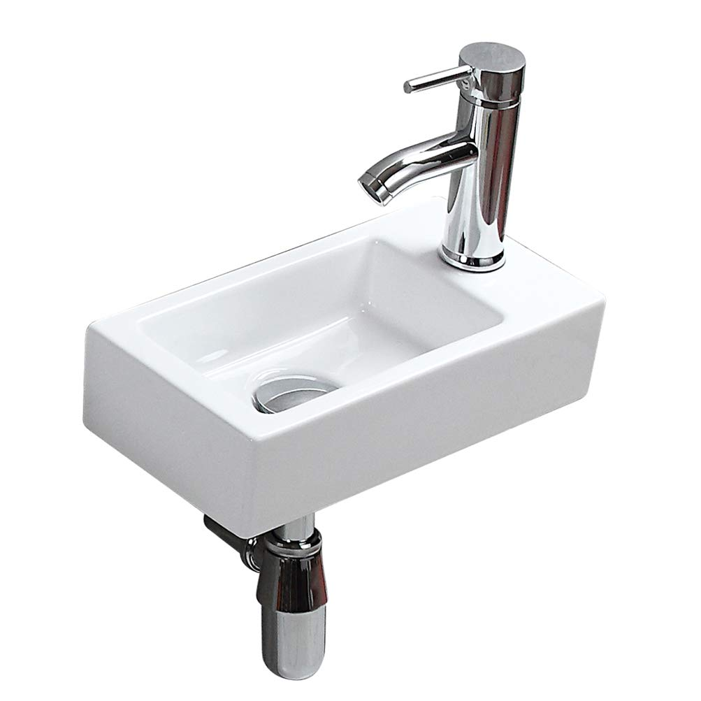 Modern Bathroom White Rectangle Wall Mount Hung Porcelain Ceramic Small Sink Wash Art Basin Vessel Vanity without Overflow&Faucet&Drain for Cloakroom Lavatory Toilet (Right Hand)