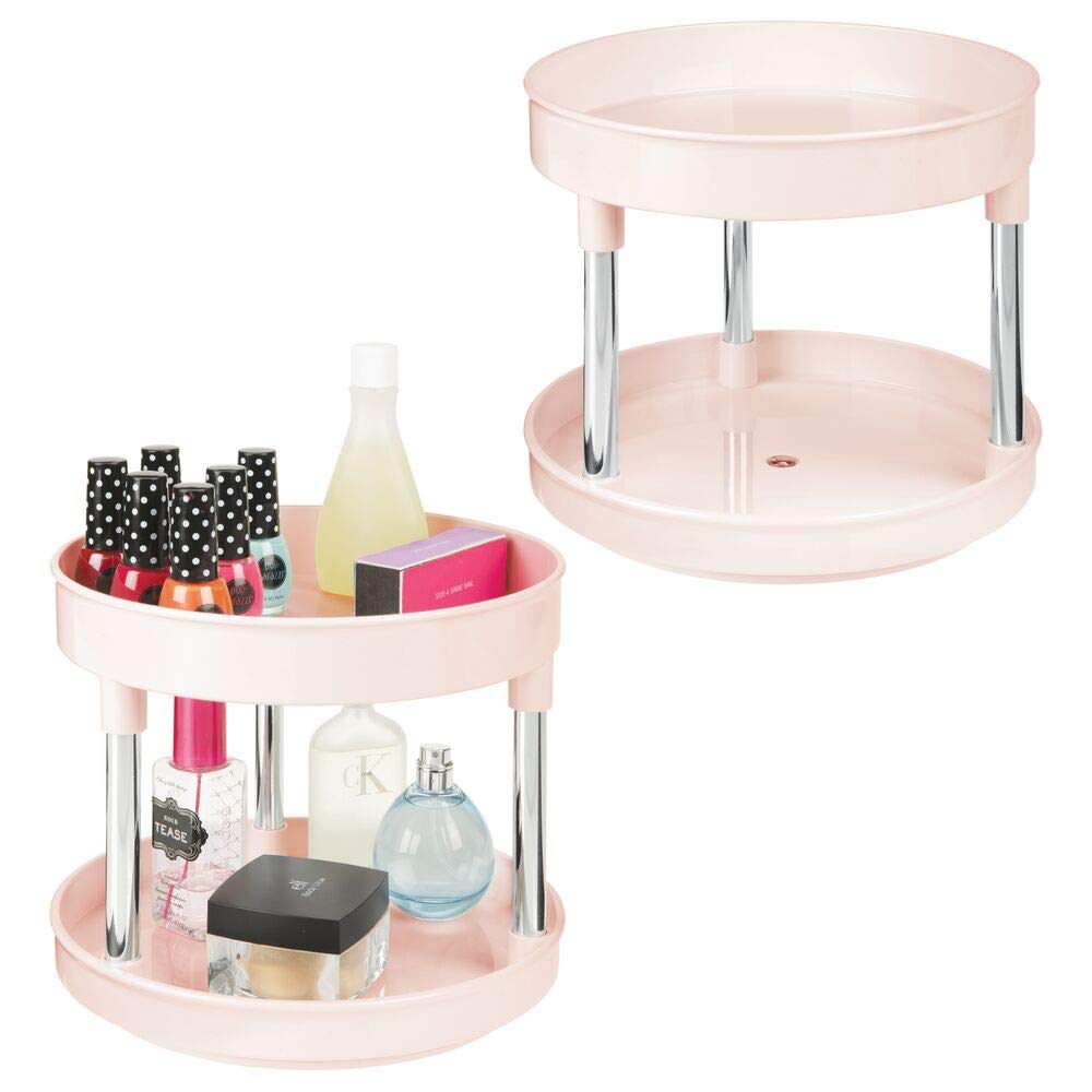 """mDesign Plastic Spinning 2 Level Lazy Susan Turntable Storage Tray - Rotating Organizer for Bathroom Vanity Counter Tops, Under Sink, Closets, Dressers - 9"""" Round, 2 Pack - Light Pink/Chrome"""