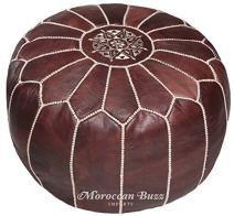 Moroccan Buzz Premium Leather Pouf Ottoman Cover, Brown (UNSTUFFED Pouf)