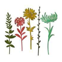 Sizzix Thinlits Die Set , Wildflower Stems #1 by Tim Holtz, 5 Pack, One Size, Multicolor 5 Piece