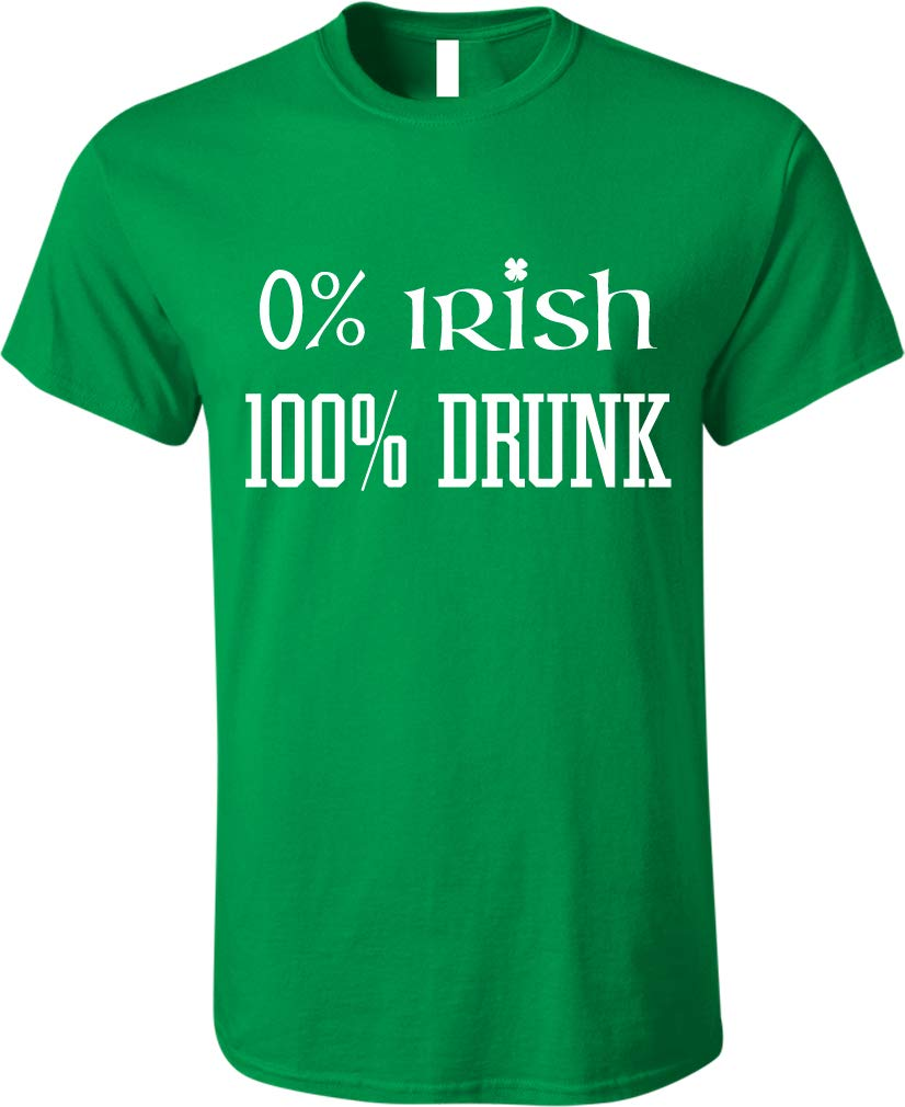 GunShowTees Men's 0% Irish 100% Drunk Funny St. Patrick's Day Shirt