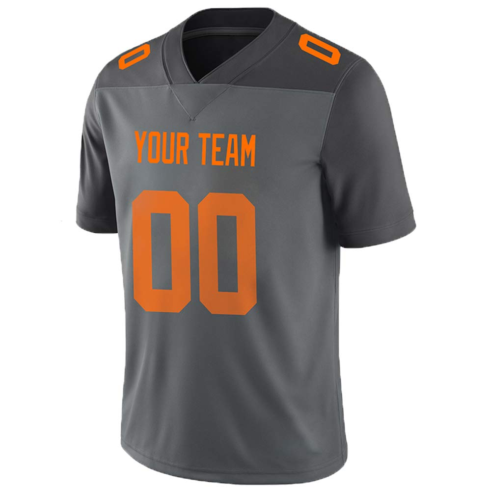 Pullonsy Gray Custom Football Jerseys for Men Women Youth Embroidered Names and Numbers S-8XL Design Your Own
