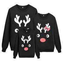 Mens Reindeer Christmas Family Sweatshirt Ugly Christmas Long Sleeve Shirt Tops