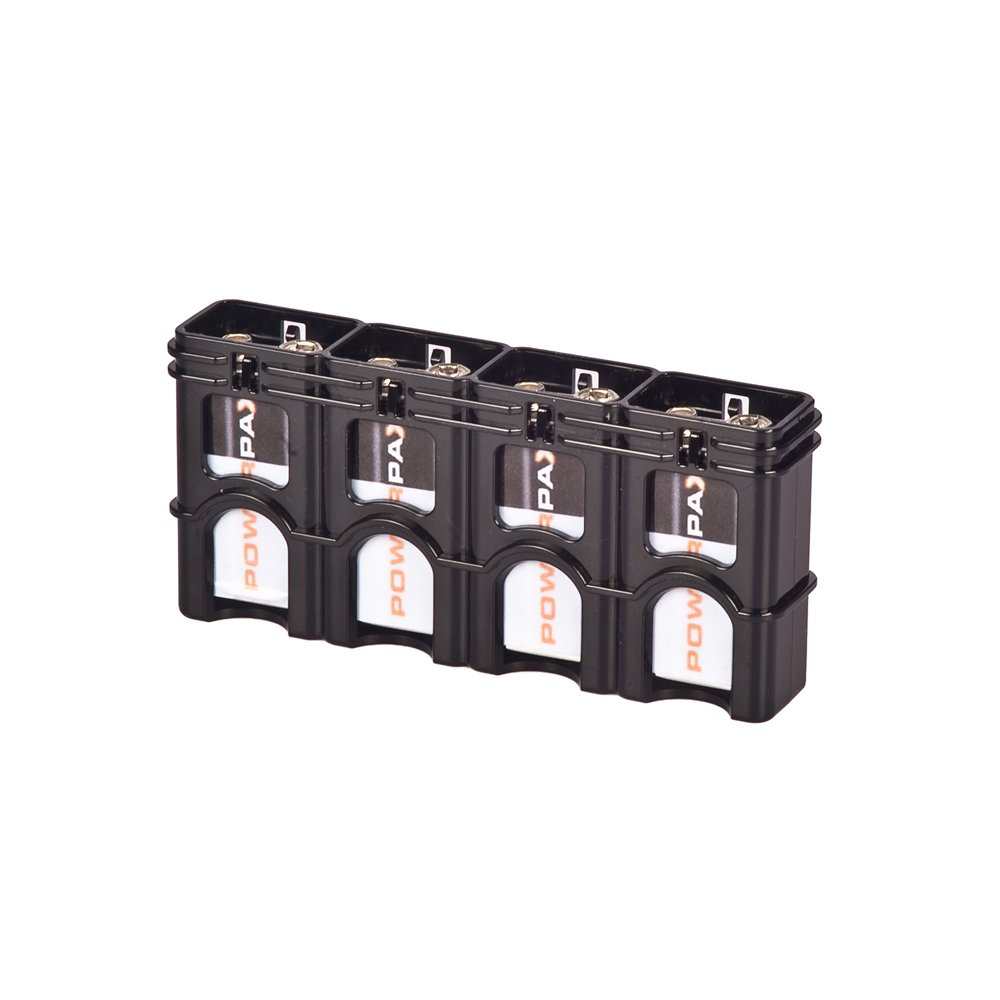 Storacell by Powerpax SlimLine 9V Battery Caddy, Black, Holds 4 Batteries
