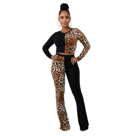 ThusFar Womens Leopard Printed Two Piece Sweatsuit Patchwork Bodycon Jumpsuit Clubwear