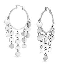 Fashion Boho Sequin Coin Dangle Big Hoop Earrings For Women Teen Silver Tone Rose Gold Plated Stainless Steel 3 Inch Dia