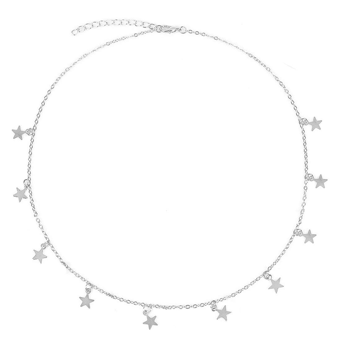 Jauxin Star Choker Necklace for Women 14K Gold Plated Chain - Handmade Polished Jewelry - Mother, Daughter, Sister, Adjustable Lobster Clasp