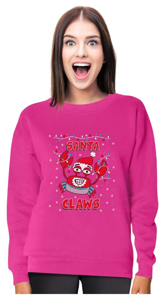 Santa Claws Ugly Christmas Sweater Crab Funny Xmas Lobster Women Sweatshirt