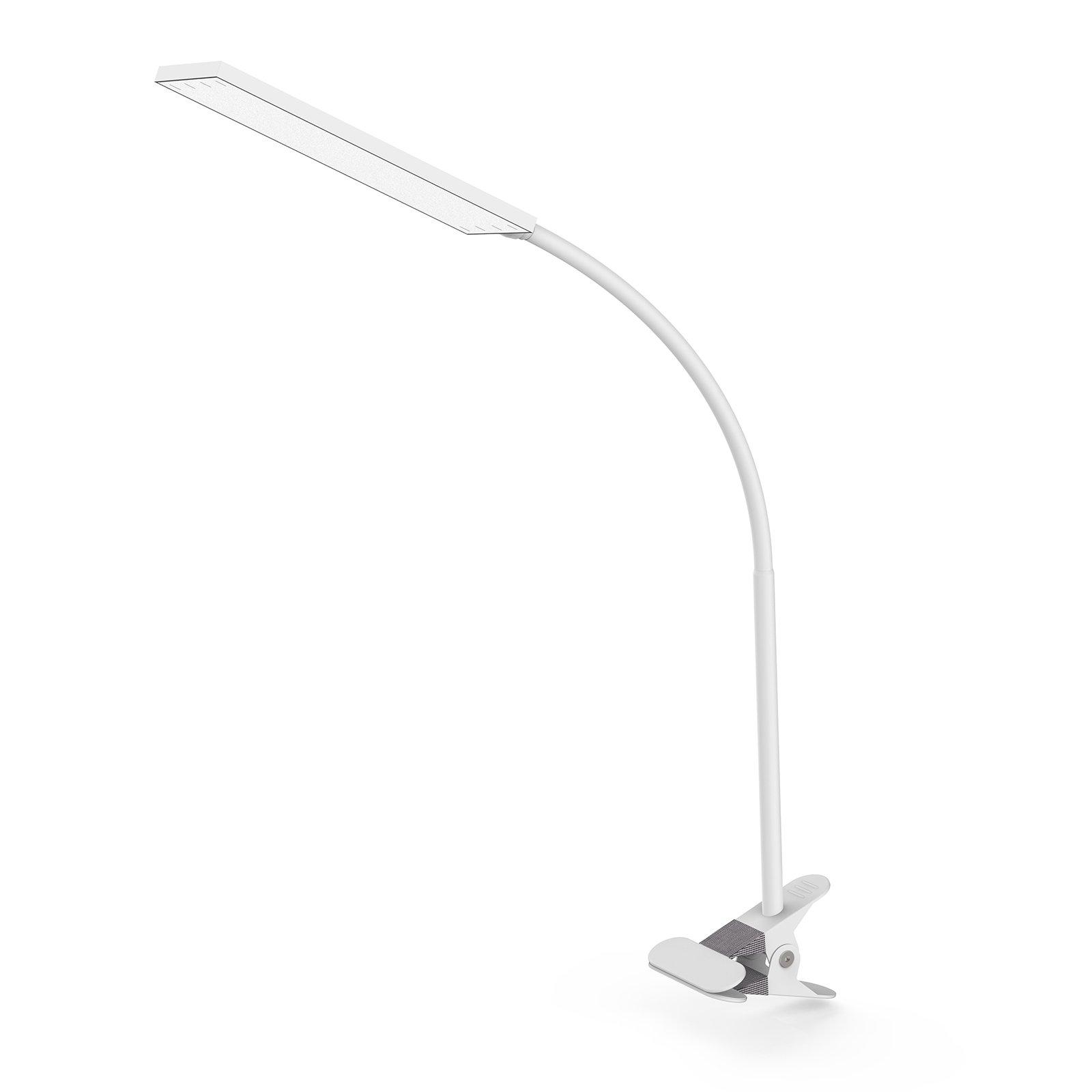 TOPESEL 48 LEDs Desk Lamp, Eye-Care Dimmable Flexible Gooseneck 5W USB Clamp Desk Lamp, 3 Color Temperatures, 14 Brightness Levels Clip Table Light, White