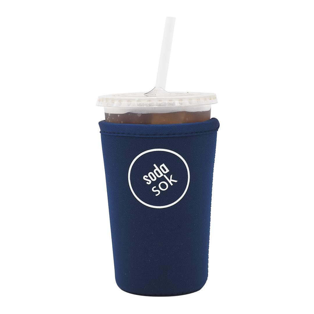 Soda Sok Reusable Insulated Neoprene Drink Sleeve for Iced Fountain Drinks and Soda Cups (Midnight Blue, 22-24oz Med)