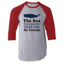 The Sea was Angry That Day My Friends All Seasons Red 3XL Raglan Baseball Tee Shirt