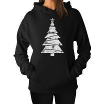 Big White Distressed Christmas Tree - Xmas Gift Idea Women Hoodie