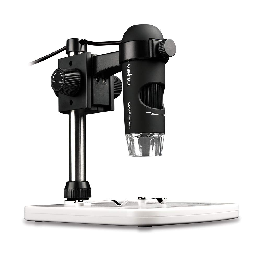Veho Discovery DX-2 USB Digital Microscope | 5 Mega Pixels | x300 Magnification | Photo/Video Capture & Recording | Up to 2592 x 1944 Resolution | 8 LED's | Adjustable Stand (VMS-007-DX2)