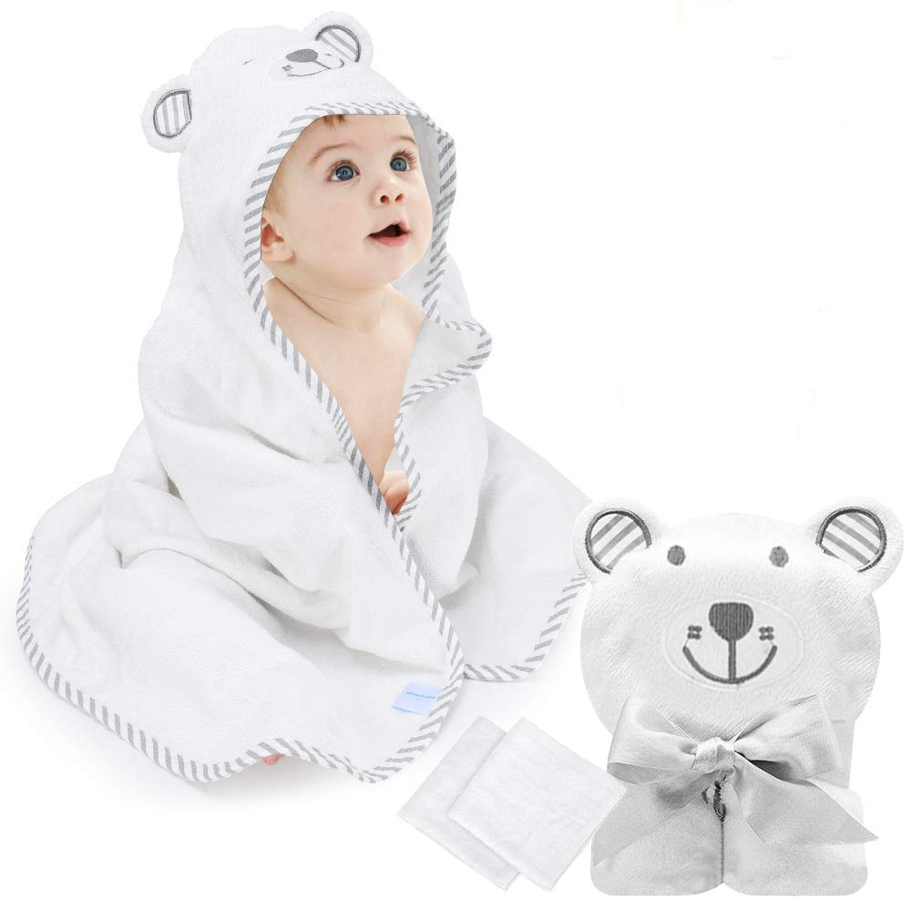 """eccomum Baby Hooded Towel Organic Bamboo Baby Bath Towels for Toddlers, Ultra Soft, Super Absorbent Thick, Large 35"""" x 35"""", Cute Ear Design, 2 Washcloth, Perfect Baby Shower for Boys and Girls"""