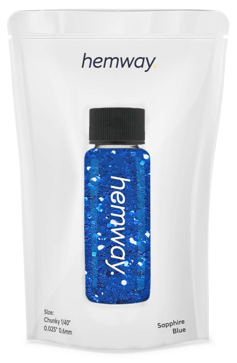 "Hemway Glitter Tube 12.8g / 0.45oz Extra Chunky 1/40"" 0.025"" 0.6MM Premium Sparkle Gel Nail Dust Art Powder Makeup Pigment Eyeshadow Face Body Eye Cosmetic Safe -(Sapphire Blue)"