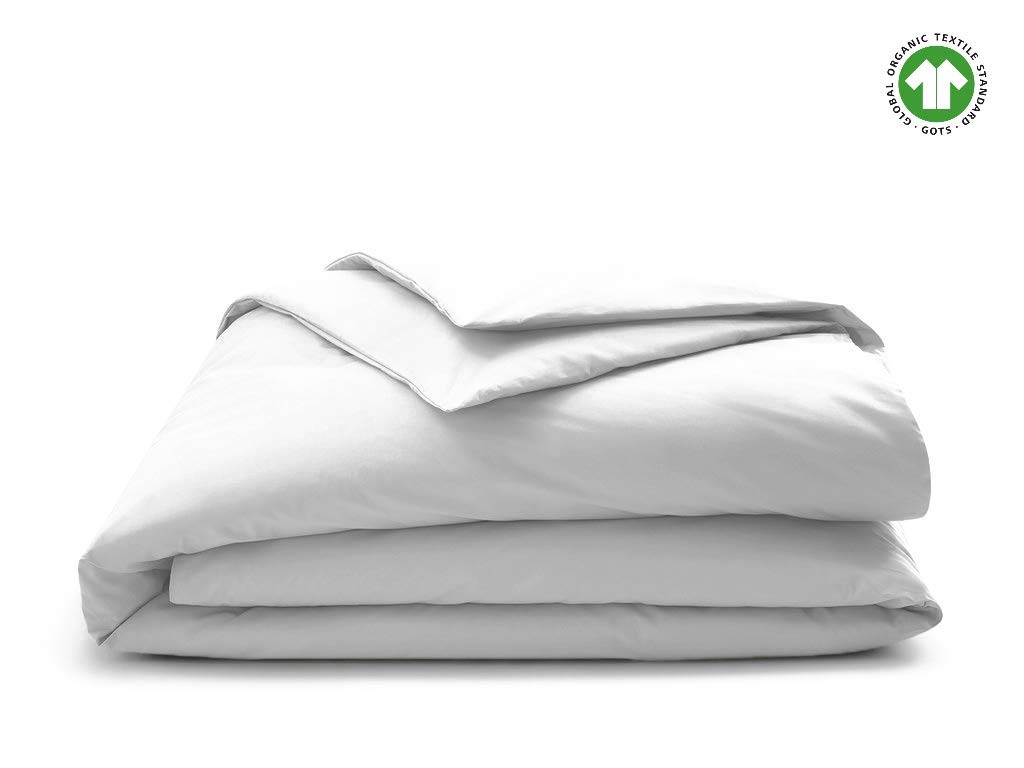 Organic Duvet Cover 350 Thread Count Queen White [GOTS Certified] - Premium Organic Cotton - Decorative Comforter Protector Cover - Sateen Weave Finish - Made in India