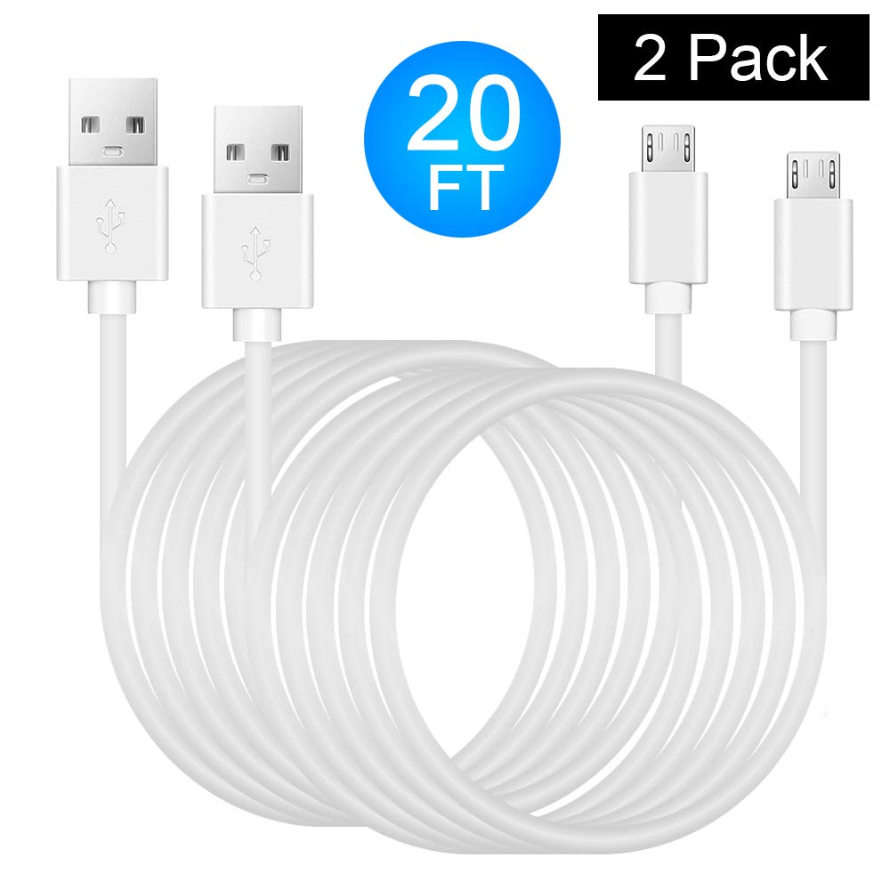 Power Extension Cable for Security Camera - 2 Pack 20 Ft Charging Cable for Wyze Cam, Yi Camera, Oculus Go, Echo Dot Kid Edition, Nest Cam, Netvue, Arlo Pro Q, Blink, Furbo Dog And Home Smart Security