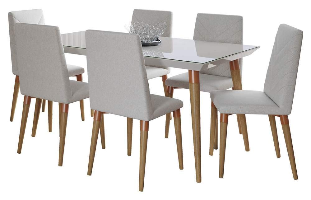 Manhattan Comfort Utopia Midcentury Modern Dining Table and Chairs Set, Off- Off-White/Beige