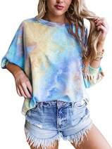 Womens Tie Dye 3/4 Sleeve Tops Plus Size Crewneck Loose Casual T-Shirt Blue