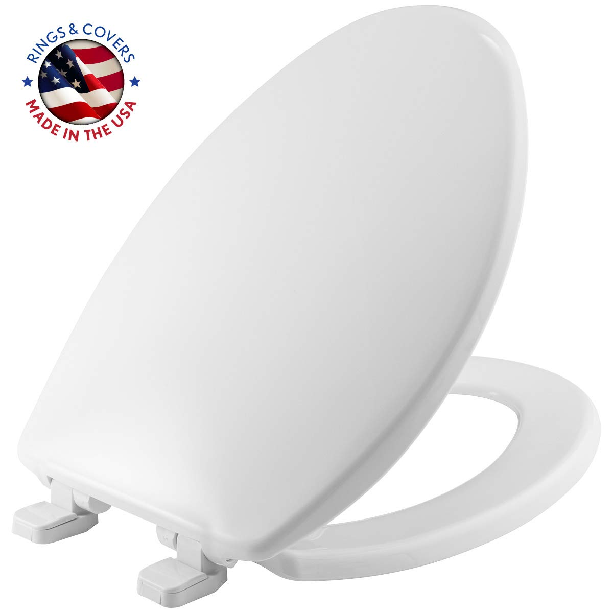 MAYFAIR 1880SLOW 000 Toilet Seat will Slowly Close and Never Loosen, ELONGATED, Long Lasting Plastic, White