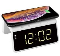 Think Gizmos Wireless Charger for iPhone & Android, Alarm Clock with Qi Wireless Charger Pad, Dimmable Display, 2 Alarms & Colour Changing Nightlight – Digital Alarm Clock – TG809 - White