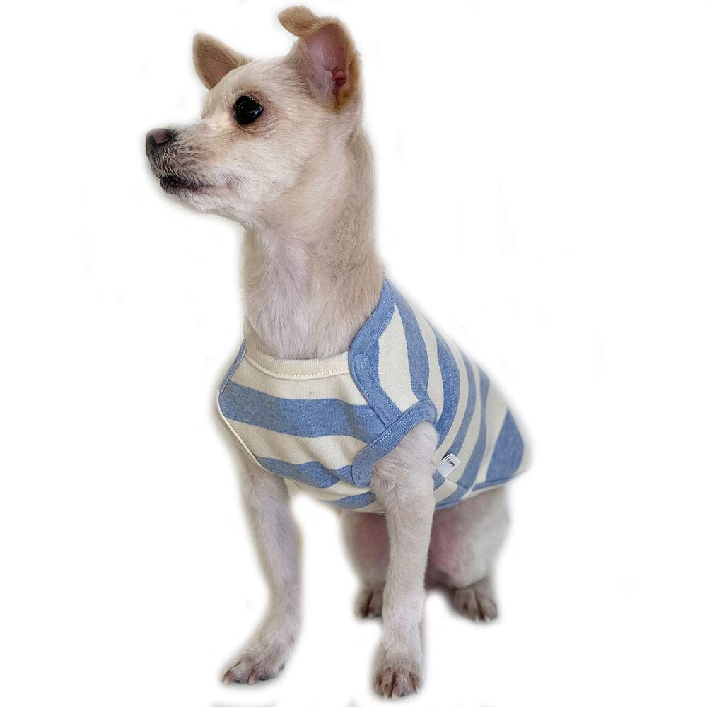 Lucky Petter Pet Clothes for Dog Cat Puppy Stripe Sleeveless Shirts Durable and Elastic Dog Shirt Apparel Outfits (Medium, Ivory/Blue)
