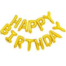 ONEPENG Happy Birthday Balloons,Aluminum Foil Banner Balloons for Birthday Party Decorations and Supplies Anniversary Events Props for Photos (Gold Balloons)