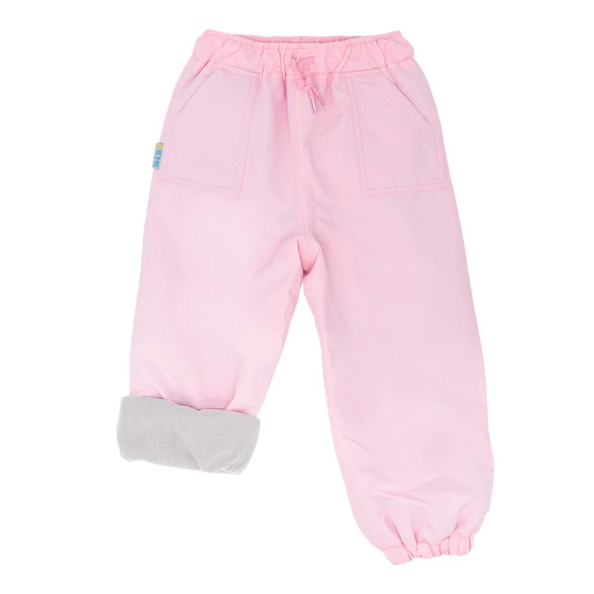 JAN & JUL Kids Waterproof Pants Girls, Cozy-Dry Soil-Repellent (Fleece-Lined: Pink, 8T)